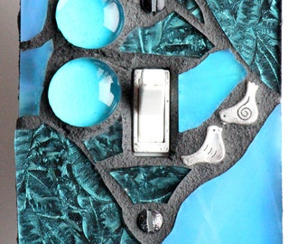 Amazing Aqua - Turquoise Single Mosaic Light Switch Cover Wall Plate