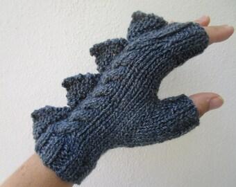 Dragon, dinosaur, monster grey  fingerless mittens gloves, 100% pure Australian wool,small/medium female adult's size