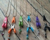Beaded Scissors Necklace - Pink/Blue/Green/Purple/Orange/Black