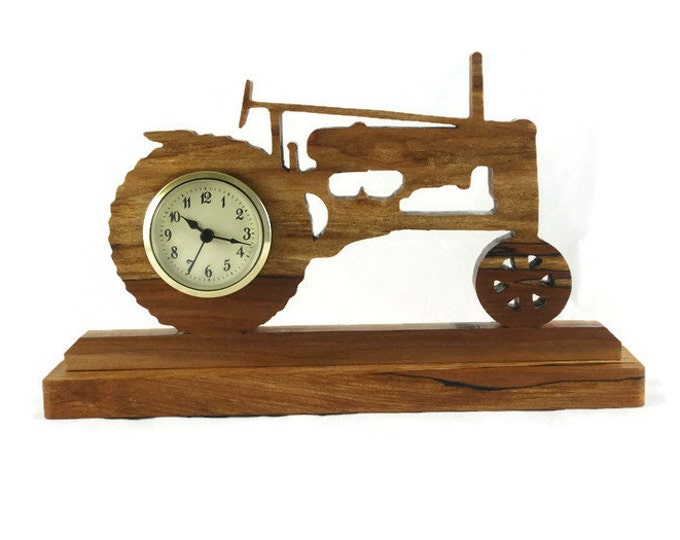 Antique Style John Deere Tractor Desk / Shelf Clock Handmade From Spalted Maple Wood, Johnny Popper, Farm Tractor