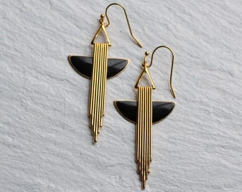 Black Gold Art Deco Earrings ... Chrysler Brass Vintage Drop Earrings
