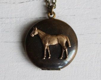 Horse Locket ... Vintage Antique Brass with Thick Bronze Chain