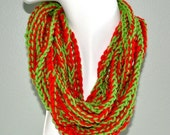50 PERCENT OFF Beautiful Red and Green Infinity Scarf/ neck warmer/Necklace/fashion