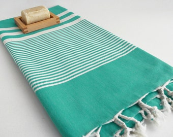 NEW / SALE 50 OFF/ Turkish Beach Bath Towel / Classic Peshtemal / Green Turquoise / Wedding Gift, Spa, Swim, Pool Towels and Pareo