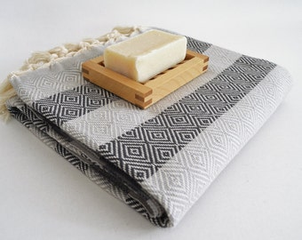 SALE 50 OFF/ BathStyle Diamond Turkish Beach BathTowel / Gray Black /  Wedding Gift, Tea, Spa, Swim, Pool Towels