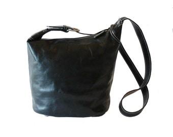 Latico Boho Black Leather Bucket Shouder Bag