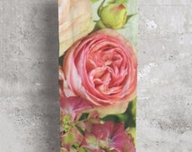 Rose floral scarf wrap - cotton modal bouquet printed fabric by Vida