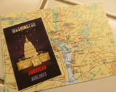 Washington, D.C. Atlas Card -- Upcycled, Maps, American Airlines