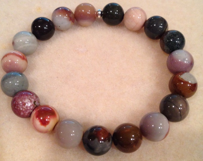 Polychrome Jasper 10mm Round Bead Bracelet with Sterling Silver Accent