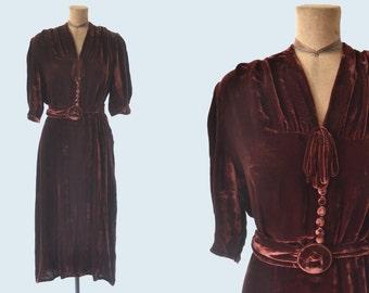 1940s Burgundy Silk Velvet Dress size M