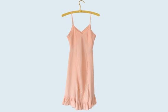 1940s Shell Pink Silk Slip size S