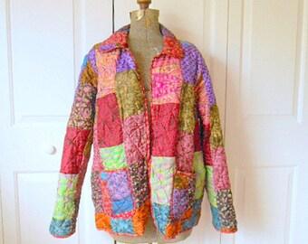 Vintage 90's Silk patchwork reversible India Jacket