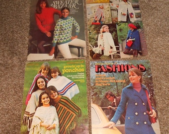 Four vintage Knit and Crochet Pattern Book and Leaflets