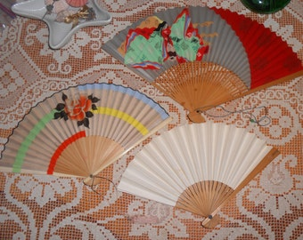 Mid Century Hand Fans - Silk - Japan Airlines - Three Vintage Hand Fans