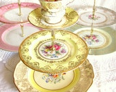 Pale Yellow 3-Tier Cupcake Stand Tray, Vintage Pink Rose Cup & Saucer Display, Tiered Cake Plate Dessert Pedestal By High Tea for Alice