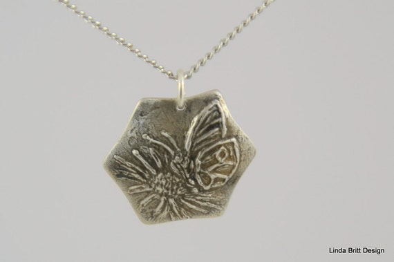 Floral Silver Pendant - Butterfly Pendant - Silver Necklace - Hexagonal Floral Charm