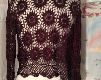 SMALL,  Flowerchild Hippie Crotched Brown Bolero