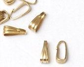 SALE 100 pcs Gold Pinch Clip, Pendant Bail Hanger, Necklace Bail, Jewelry bail, Enhancer, A27-017
