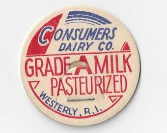 Consumers Dairy Co. Vintage Milk Cap, 1960s