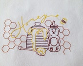 Honey Pot, Honey Bear, Kitchen Towel, Hand Embroidered