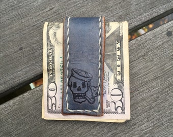 Leather Money Clip - Vintage Tattoo Skull Sailor - Magnetic Money Clip
