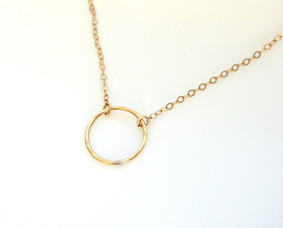 Circle Necklace,  Gold Hammered Ring Necklace, Dainty Gold Filled Necklace, Everyday Jewelry, Circle Jewelry, Layering Necklace, Minimalist