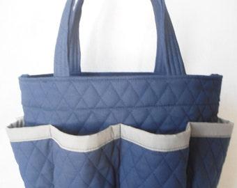 Navy blue  Quilted Bingo Bag // Craft Organizer // Makeup Organizer // Caddy // Teacher Tote // Nurse Tote