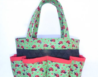 Lady Bugs in Green Bingo Bag // Craft Organizer // Makeup Organizer // Caddy // Teacher Tote // Nurse Tote