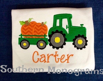 Custom Boys Toddler fall autumm Tractor carrying pumpkins Applique shirt - personalized - monogram