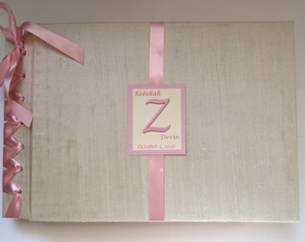 "Photo Booth Wedding Guestbook w/125 2"" x 6 "" photo sleeves - Creme and Pink Blush Photo Booth Album - (Custom Colors Available)"