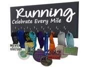 Running, Medal holder, Gifts for runners - celebrate every mile - Running mom