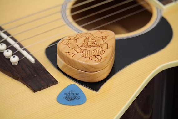 "REDUCED PRICE - Discontinued, Guitar Pick Box, 2-1/4"" x 2"" x 3/4""D, Pattern DH Rose slender, Solid Cherrywood, Laser Engraved, Paul Szewc"