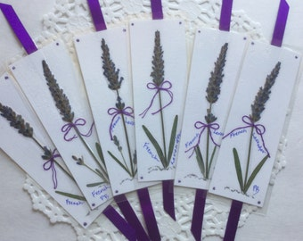 Pressed Flower Bookmarks, Lavender Flowers, Bookmark Designs, French Lavender Gift,  Bookmarkers for book lovers, Shower favor gift