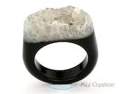 RI01011016) Black Agate Druzy Ring