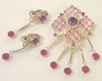 Stunning Pink and Red Crystal Lattice Gold Scroll Demi Parure