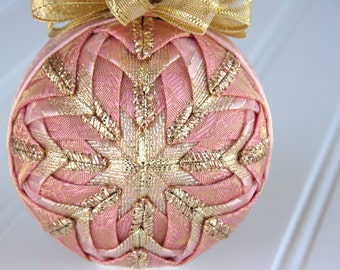 Quilted Ornament Ball/Pink and Gold - Rose Gold