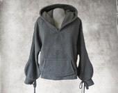Hood sweatshirt gray/Women fleece top/pull over top/active wear hoody/Long sleeve blouson