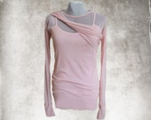 Contemporary mesh top/Pink coral pastel/Long sleeve pull over/Layering knit/Cross front twist