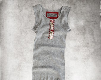 Tank top gray/rosette embroidered front/Sleeveless women