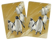 PENGUINS (2) Vintage Single Swap Playing Cards Paper Ephemera Scrapbook