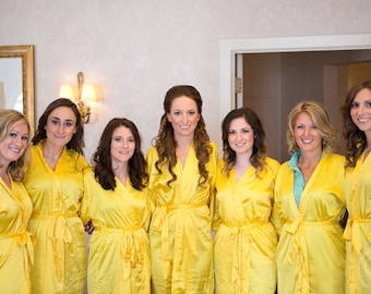 Bridesmaid Robe Yellow wedding robes Gold bridesmaid silk robe dressing gown personalized robe monogrammed robe embroidered robe custom made