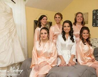 Bridesmaid Robes Coral robes peach robe wedding robes bridesmaid silk robe dressing gown personalized silk robe kimono robes floral robes