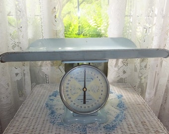 Vintage Photo Op Prop American Family Baby Blue Nursery Room Scale 30 lbs by Ounces