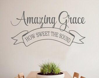 Grateful Thankful Blessed Faith Vinyl Lettering Wall Decal - Custom vinyl lettering wall decals
