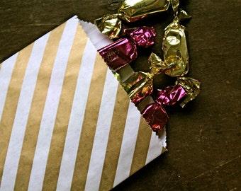 Kraft paper gift bags, 20 Middy Bitty Bags.  White kraft paper bag with gold metallic diagonal stripe.  Gift bag, favor bag, candy buffet.
