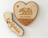 California State Wood Heart Magnets Wedding Favors Personalized Engraved guests rustic bridesmaids groomsmen christmas birthday event USA