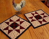 Quilted Pot holders, Quilted Hot pads, Trivets, Wine - Cream - Black