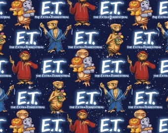 Universal E.T. with Animals Blue Cotton Woven Fabric, 1 Yard