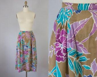 "1970s Vintage Christian Dior Floral Print Midi Skirt (S, M; 27"" Waist)"
