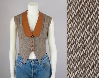 60s 70s Vintage Brown Tweed and Leather Fitted Vest (M)